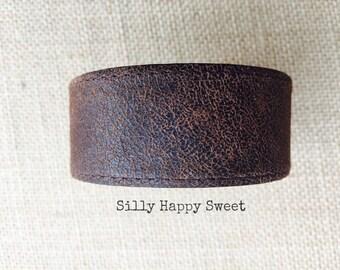 Custom Men's Leather Cuff - Men's Rustic Brown Leather Bracelet - Men's Repurposed Leather Cuff - Masculine Cuff - Upcycled Men's Cuff #95
