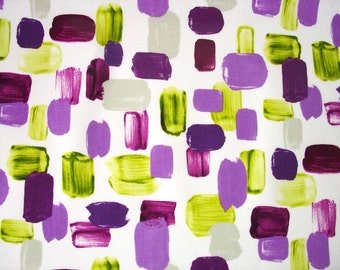 """0.5 yard Oilcloth - Laminated Cotton tablecloth in purple green brush strokes 52"""" wide"""