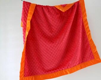 Baby Blanket, Watermelon Minky Dot with Orange Satin Trim