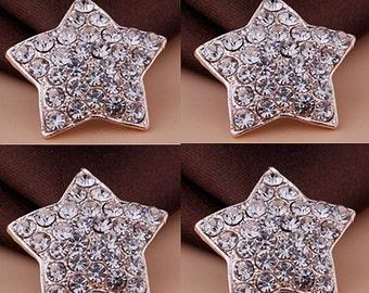 12 Flat Back Rhinestone Button Stars Button (23x23 mm) QS-083-02