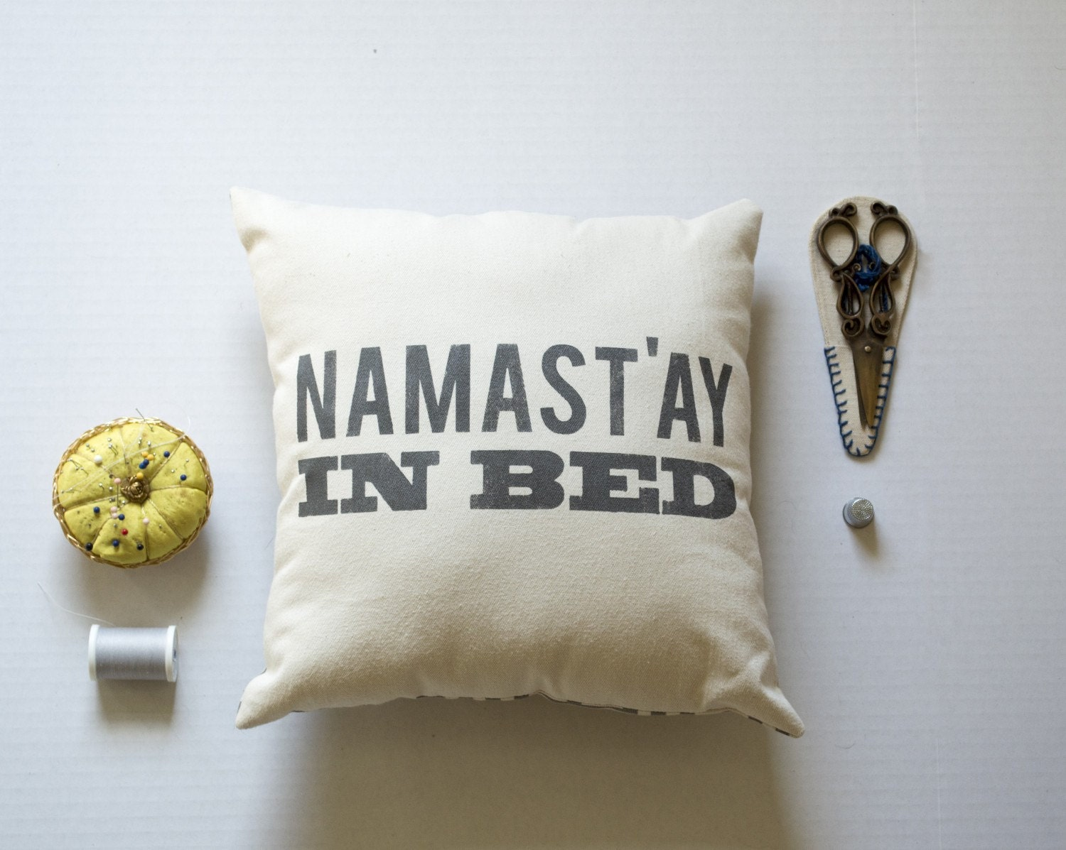 decorative pillow namast 39 ay in bed pillow saying pillow. Black Bedroom Furniture Sets. Home Design Ideas