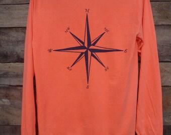 Long Sleeve Compass Rose Pocket Tshirt, Nautical Tshirt, Comfort Colors Tshirt, Beach Life Tshirt