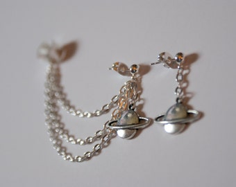 Silver Saturn Ear Cuff and Earring Planet Space
