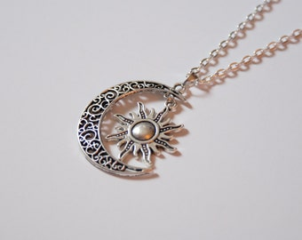 Large Silver Sun and Moon Necklace