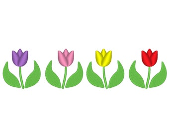 9 Sizes!  Tulip Garden Tulips Spring Border Embroidery Machine Design
