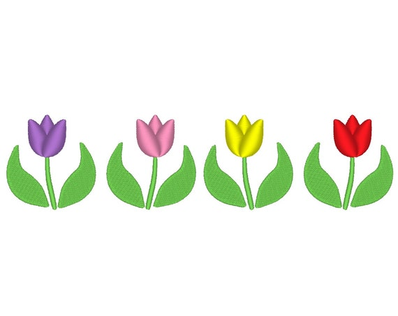 9 Sizes Tulip Garden Tulips Spring Border Embroidery Machine
