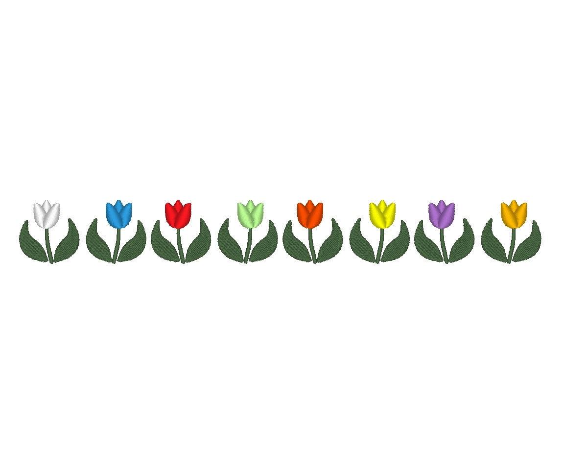 Tulip Garden Young Women Tulips Spring Border Embroidery