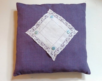 Linen Weave Pillow Vintage Lace Square Aqua Butttons 16 x 16, Shabby Chic,Farmhouse,Victorian Decor