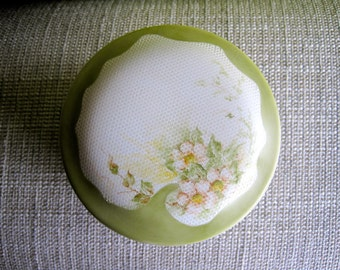Medium Lidded Porcelain Box Hand Painted with Single White Roses and Lattice effect