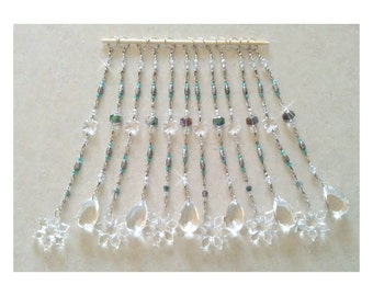 "4TH OF JULY SALE: Beaded Curtain Accents...Set of 12-10"" Straight Beaded Strands for Shower Curtains, Curtains, Draperies or as Suncatchers"