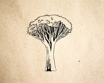 African Tree Rubber Stamp - 2x2 Inches