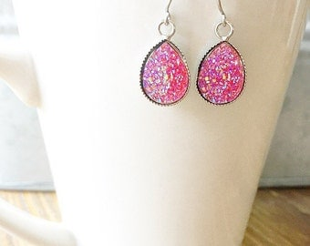 Pink Shimmer Teardrop Druzy Earring Posts - 14mm x10mm Pink Druzy -Titanium Studs- Sensitive Ears