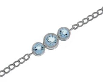2 Carat Genuine Aquamarine Round Bezel Bracelet .925 Sterling Silver Rhodium Finish