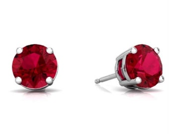 14Kt White Gold Ruby Round Stud Earrings