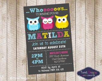 OWL PARTY INVITATION, Printable Birthday Invitation, Owl Girl Birthday Invitation, Owl Party Invitation, Hoot, Owl Typography Invitation