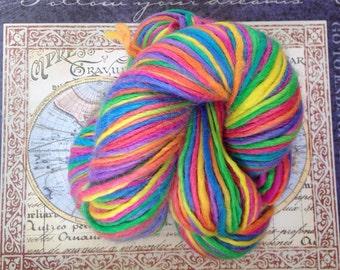 Handpainted Merino/alpaca/silk yarn, DK, 'Rainbow Brite'