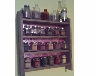 Frontier Industrial Spice Rack. A combination of reclaimed organic and manufactured resources