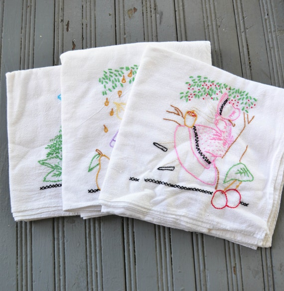 Vintage Embroidered Kitchen Tea Towels Farm Girl Cotton
