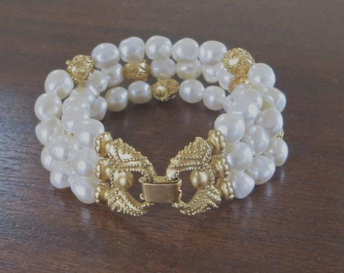 Baroque Pearl Bracelet Triple Strand Bride Wedding Prom Vintage Classic Elegance