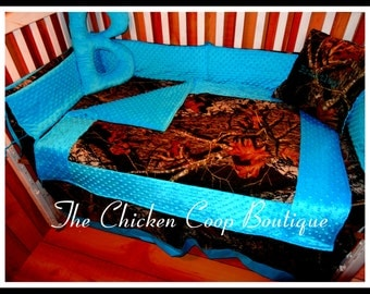 "Baby Bedding Boutique Camo Crib set in your choice of colors ""Custom Made""  6 Pc Boutique Bedding FREE PERSONALIZATION"