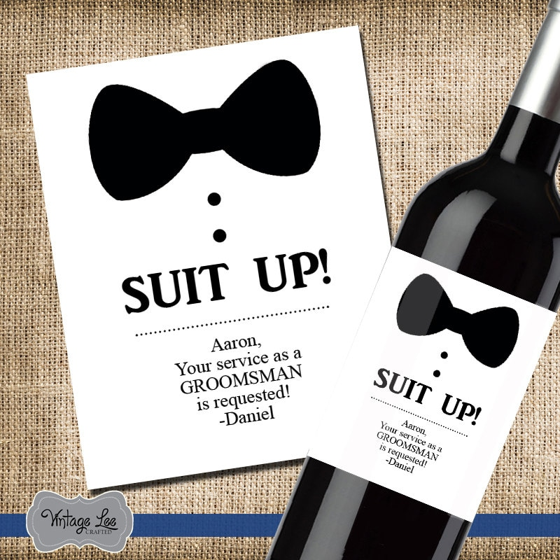 Will you be my groomsman label asking groomsman wine label zoom junglespirit Image collections