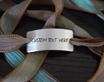 CUSTOM Hand Stamped Ribbon Wrap Bracelet