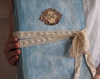Shabby dusty blue wedding guest book, wedding photo album or scrapbook album to embellish. Custom made 8.5x10 inches