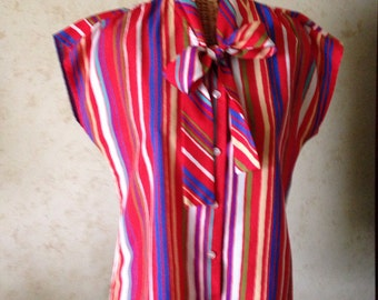 Vintage Sleeveless Striped Blouse/Tie/Bow/Shirt