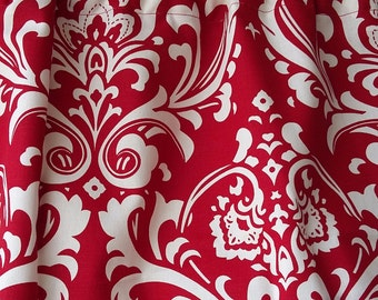 Red and white damask valance with optional trim