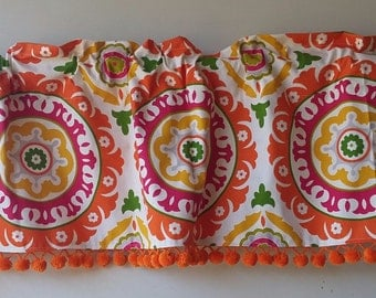 Waverly valance in Solar flair fabric with vintage orange pom trim