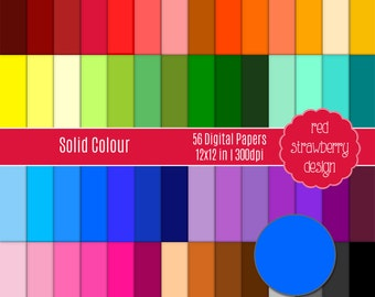 75% OFF Sale - 56 Digital Papers - Solid Colour - Instant Download - JPG 12x12 (DP123)