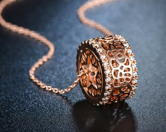 Charming Rose Gold Plated Drum Necklace