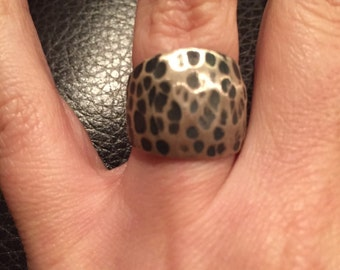 Sterling Silver Wide Hammered Ring Size 6