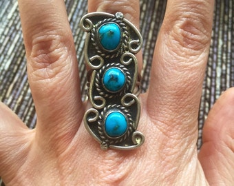 Amazing Navajo Sterling Silver Three Stone Turquoise Ring Size 5.5 Vintage