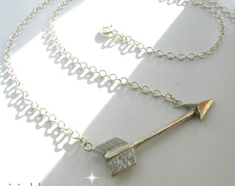 Silver Arrow Necklace, Hand Made Silver Jewelry, Gift Idea for Her