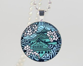 Japanese Illustration Necklace Pendant glass