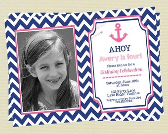 Nautical Birthday Invitations - Nautical Girl Birthday Invites - Blue and Pink Anchor Birthday Invites - Chevron Invitations - DIY Printable