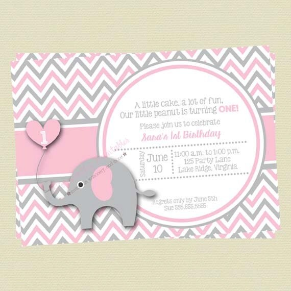 Pink and gray elephant girl birthday invitation pink and grey il570xn stopboris Image collections