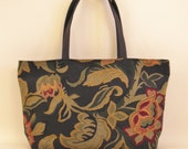 CUSTOM ORDER Ziptop Tote --Blue Background Tapestry with Cranberry/Gold/Green Floral Design Luxe Fabric Bag