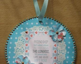 Hand Decorated Mdf 'Friendship' Floral Circular Plaque 15.5cm **Free P&P**