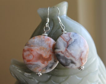 Beautiful Coin Crazy Lace Agate Earrings, sterling silver hook