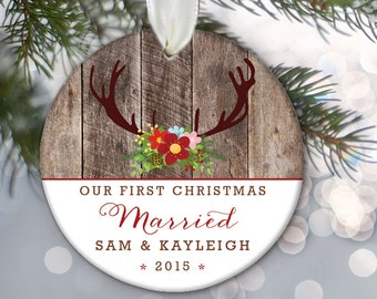 Our First Christmas Married Engaged Together Personalized Christmas Ornament Deer antlers & wood Ornament Wedding Bridal Shower Gift OR382
