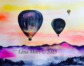 Balloon Ride Travel Watercolor Illustration -  Print from Original Watercolor Cityscape Romance - Lana's Art - Wanderlust Illustration