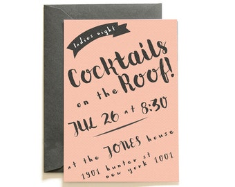 Mad (Wo)Men Pink Cocktail Invites   Printable Invitation Template   INSTANT DOWNLOAD