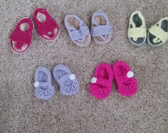 crochet baby mary jane shoes, flip flops and sandals