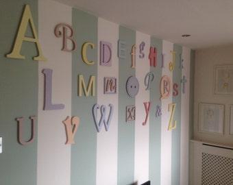 Unfinished wooden alphabet nursery decor wooden alphabet for Alphabet mural nursery