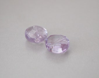 1 Matching Pair, Pink Amethyst Faceted Coin, DIY Supplies, Jewelry Supplies