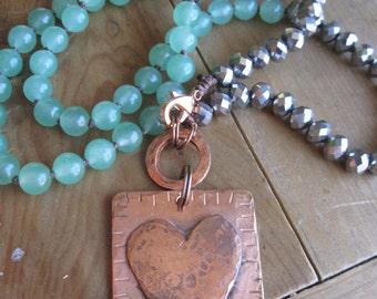 Antique Hammered Copper Heart Aventurine Bohemian Necklace