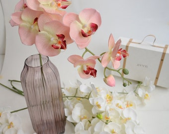 5 pcs Artificial Orchids Wedding Light Pink Table Centerpieces Head Dia 9*10cm Butterfly Orchid Phalaenopsis Flower  Home Decor