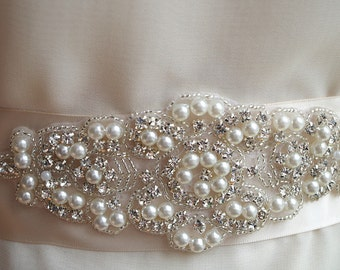 pearl rhinestone Applique, bridal sash applique, bridal garter applique, bridal headpiece applique wedding sash applique bridal belt ZP017